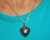 Vintage Silvertone Puffy Heart Pendant Necklace