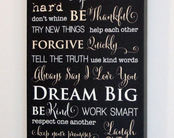 "10x20"" Family Rules Canvas Gallery Wrap"