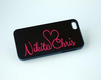 iPhone 7 Case, Personalized Phone Case, Monogram Phone Case, for Couples, iPhone 6 Case, Pink and Black