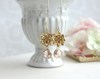 Lotus Flower Earrings, Lotus Peach Earrings. Water Lily Champagne Peach Bridal Earrings, Bridesmaids Gifts. Gold and Peach Wedding,