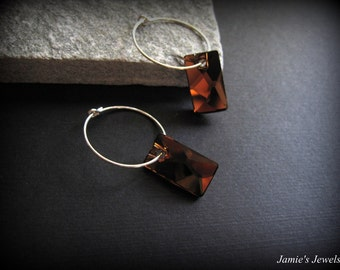 Sterling Silver Smoked Topaz Hoop Earrings - Brown Crystal - Rectangle - Sterling Silver Modern Jewelry - Sterling Silver Geometric Jewelry