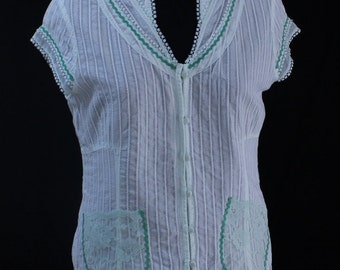 Upcycled womens cotton blouse, shirt, original, Australian, pale green, lace, vintage green ric rac,