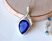 Sapphire Necklace on Sterling Silver - Oceana by CircesHouse on Etsy