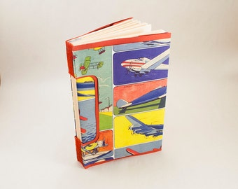 Blank Hand-bound Journal, Notebook or Guestbook with a Travel Theme