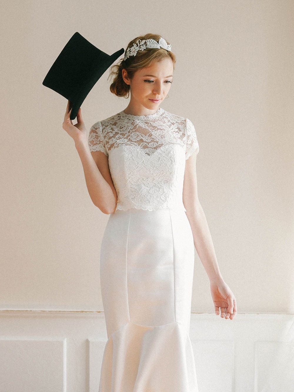 Wedding lace separate bridal lace top lace topper by for Cover up wedding dress