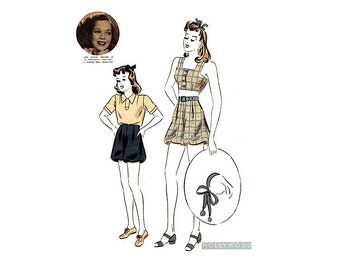 1930s Womens Playsuit Pattern, Hollywood 1738, Star Jane Wyman, Blouse, Bloomers & Halter Top Vintage Sewing Pattern