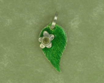 Raspberry leaf with yellow sapphire fine silver pendant flower green enamel DTPD