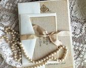 Romantic Vintage Elegant Burlap Wedding Invitation SAMPLE Handmade by avintageobsession on etsy