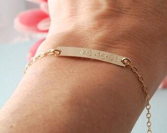 14K gold fill bar bracelet, anniversary bracelet, personalized