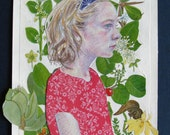 Garden Girl in Profile- Mixed Media Original Drawing and Collage on Paper