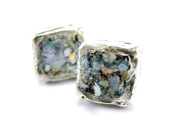 Silver square post earrings with roman glass