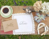 """White """"Will You Be My Bridesmaid"""" Hand-Stamped VintageHandkerchief"""