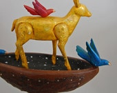 Deer Fable No. 1- carved wood sculpture