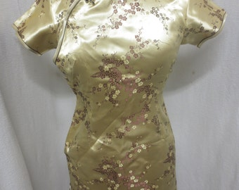 Vintage Asian Wiggle Chinoise Bronze Brocade Dress Cherry Blossoms Satin