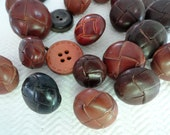 24 Preppy Leather Buttons - Great Variety Vintage