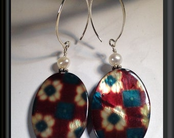Memories of Christmas Past Earrings -- Mother of Pearl Drops w/ FW Pearls and Sterling Silver --  Vintage Wrapping Paper Look!