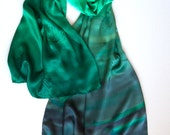 Silk Satin Shawl Green Dandelions/ Hand Painted Silk Scarf/ Shawl Ombre/ Forest green shawl/ Luxury gift women/ Holiday gift mom/