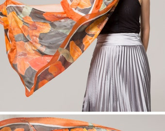 Hand painted silk scarf- Crimson Lilies/ Bright Orange Scarf. Luxurious Scarves/ Floral scarf serti/ Unique gift for her. OOAK birthday gift