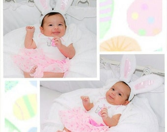 White Easter Bunny Ears Stretch Headband halloween costume prop GREAT PHOTOGRAPHY PROP