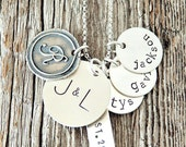 Foundations Necklace for Mom, Family Necklace, Charm Necklaces for Moms, Handstamped Sterling Silver Mommy Necklaces, Heirloom Jewelry