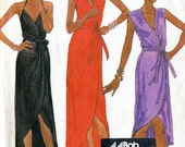 Vintage 80s McCalls 7374 Misses Evening Front Wrap Dress with High Low Hem Sewing Pattern Size 8 Bust 31.5  By Designer Bob Mackie