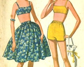 Vintage 50s McCalls 6860 CUT Misses Two Piece Swimsuit Playsuit Bra Top Bathing Shorts and Full Skirt Sewing Pattern Size 14 Bust 34