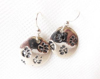 Sterling pawprint earrings, paw print accessory, puppy owner gift, kitty lover jewelry