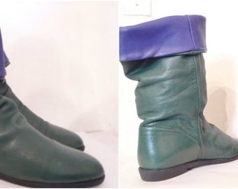 sale Vintage 80s Green and Blue Pixie Elf Boots / Leather Adjustable Height Urban Elf Boots with Plaid Fleece Inside