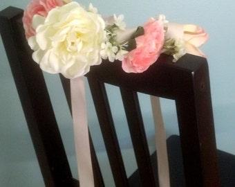 Bridal Statement Flower crown Ivory gardenia peach pink hair wreath large flower headpiece wedding accessories couronne de fleur girl baby