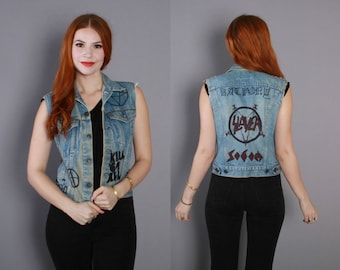 80s Levi's JEAN Jacket VEST / 1980s Heavy METAL Band Customized Vest