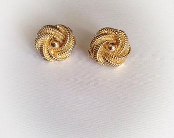 Vintage Gold Tone Metal Earrings Clip On