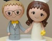 Topper for January-Disney (inspired) Cake Topper  -- Kokeshi Wedding Cake Topper - Wood Cake Topper