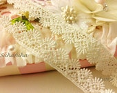 "3 yd Ivory Venise Shell edging lace Trim 1/2"" wide for card making"