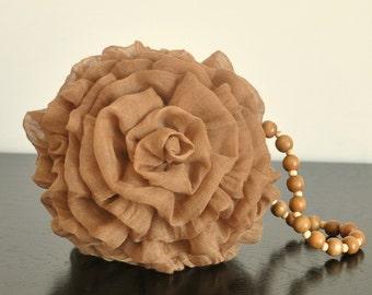 Ball Flower - Brown - Handmade Fabric Flower Purse wz Zipper and Crochet Lining