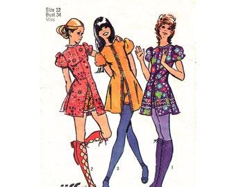 Womens Mini Dress & Short Shorts Pattern Simplicity 9544 Hot Pants Micro Mini Dress Puff Sleeve | Womens Bust 34 Vintage Sewing Pattern
