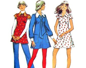 1970s Vintage Mini Dress Pattern or Tunic Pattern Simplicity 5088 Dress Dog Ear Collar & Tie Junior Petite Sewing Pattern Bust 33 UNCUT