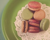 Macarons on Green - Nostalgic Dreamy Vintage Style Food Photography Kitchen Home Decor Print