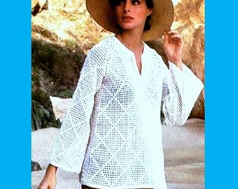 INSTANT DOWNLOAD PDF Vintage Crochet Pattern  1970s Tunic Pullover Beach Cover Up Kaftan   Retro Plus Free Vintage Pattern