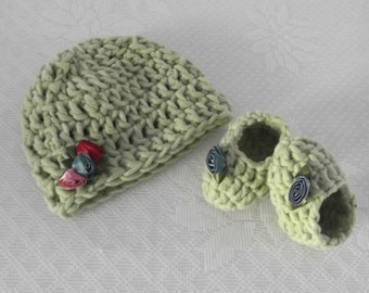 Baby's First Hat and Booties Embellished with Roses - newborn - ready to ship - one and only