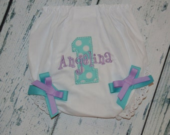 Personalized 1st Birthday Bloomers Monogram Diaper Cover First Birthday