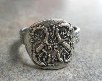 Celtic Jewelry Silver Dragon Viking Ring Artisan Unisex Renaissance