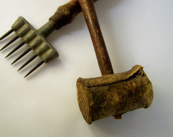 Vintage Hand Tools - Rolled Leather Mallet and Ice Chipper