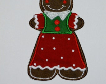 Embroidered Iron On Applique-Gingerbread Girl