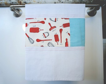 Flour Sack Kitchen Towel - Patchwork - Red and Turquoise Kitchen Towel