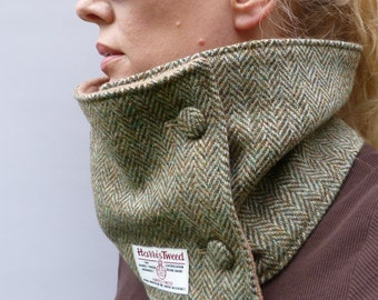 Harris Tweed Neckwarmer Scarf - Green/Beige/Brown