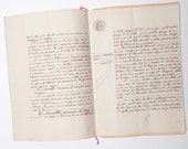 French antique handwritten notary act from 1903 (9 pages)