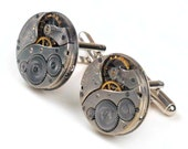 Antique 1920's Elgin Watch Movement Steampunk Cuff Links