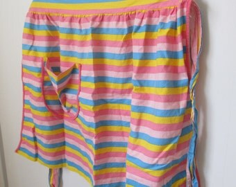 Vintage Pink Apron, Pink Blue and Yellow Striped Half Apron, Size M, L, XL or xxl, Plus Size, 1950s, 1960s, Handmade Vintage, Hostess Gift