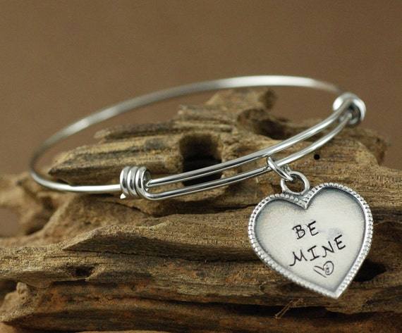 Heart Bangle Bracelet, Personalized Bangle Bracelet, Be Mine Bracelet, Adjustable Bangle, Gifts for Her
