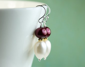 Pearl Earrings / Cranberry colored pearl and white drop freshwater pearl dangle earrings, pearl jewelry, by art4ear, free shipping in Canada